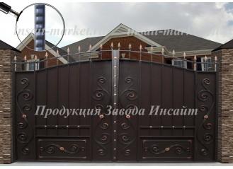 """Ворота """"Дворянские"""" со встроенной калиткой Ар-Деко"""