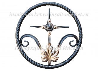 Кольцо витое с крестиком и листом