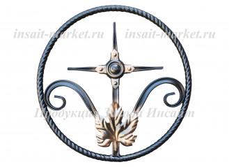 Кольцо витое с крестиком и листом Т-20